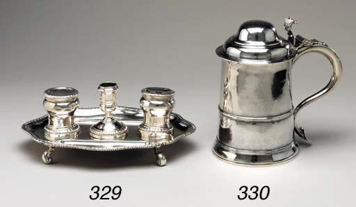 A GEORGE II SILVER INKSTAND*