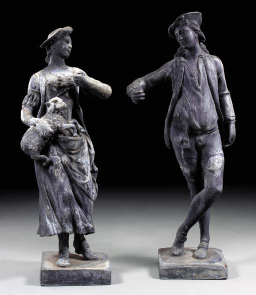 A PAIR OF GEORGE II CAST-LEAD