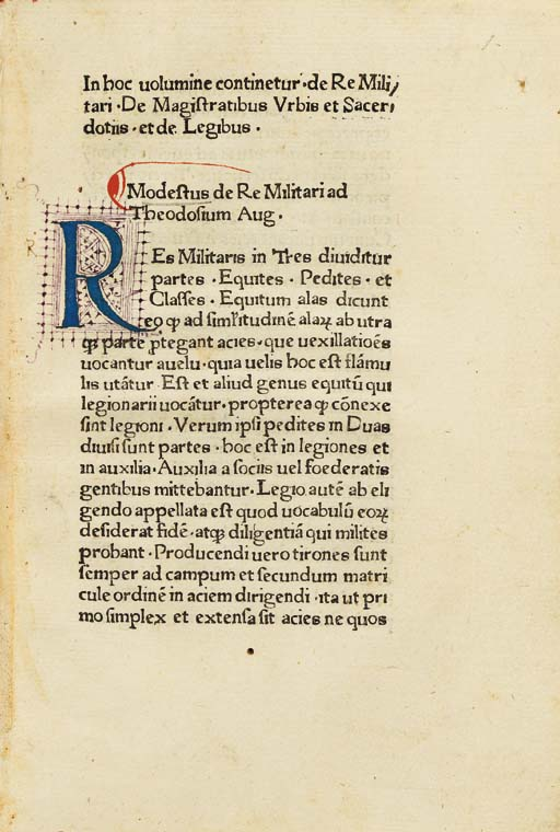 MODESTUS (attributed to). De r