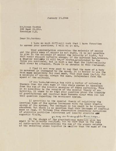 EINSTEIN, Albert. Typed letter