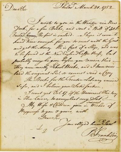 FRANKLIN, Benjamin (1706-1790)