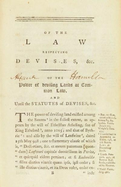 [HAMILTON, Alexander]. A book