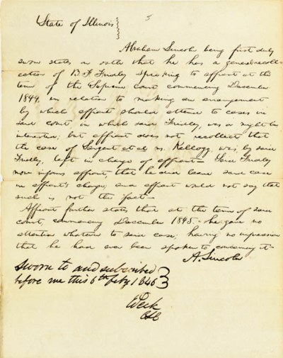LINCOLN, Abraham. Autograph do