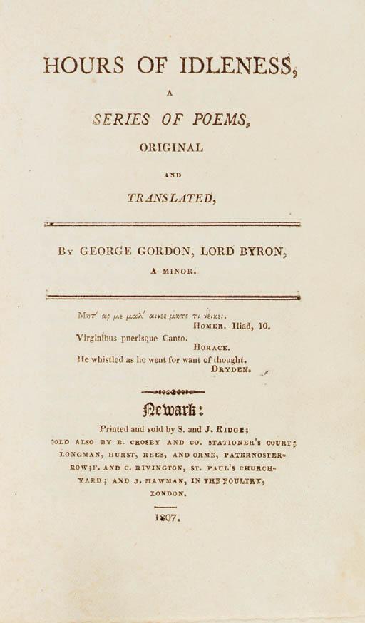 BYRON, George Gordon Noel. Hou