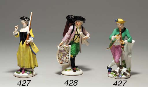 A MEISSEN FIGURE OF A MAP SELL