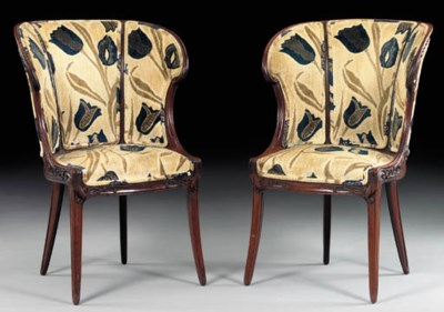 A PAIR OF CARVED MAHOGANY SIDE