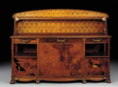 A LARGE CARVED MAHOGANY AND MA