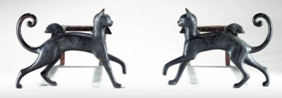 A PAIR OF BRONZE CAT-FORM ANDI