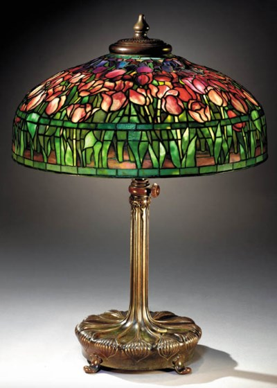 A 'TULIP' LEADED GLASS AND BRO