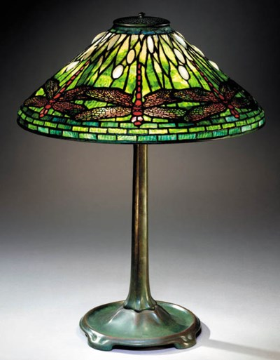 A 'DRAGONFLY' LEADED GLASS AND