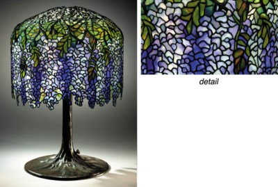 A 'WISTARIA' LEADED GLASS AND