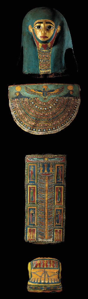 AN EGYPTIAN PAINTED AND GILT C