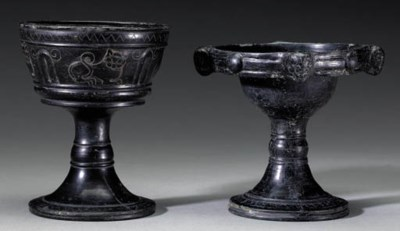 TWO ETRUSCAN BUCCHERO CHALICES