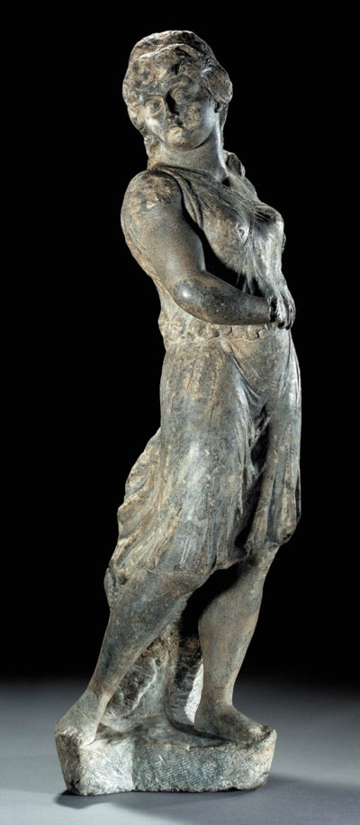 A ROMAN GRAY MARBLE FIGURE OF