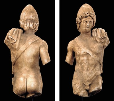 A ROMAN MARBLE FIGURE OF A DIO
