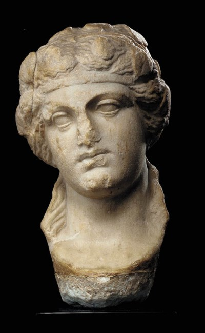 A ROMAN MARBLE HEAD OF DIONYSU