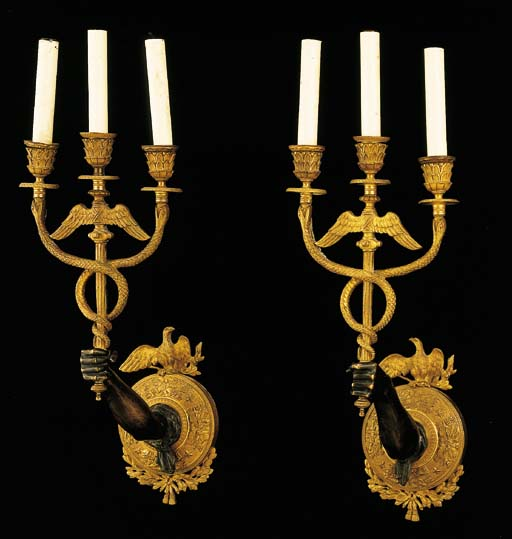 A pair of Empire style ormolu