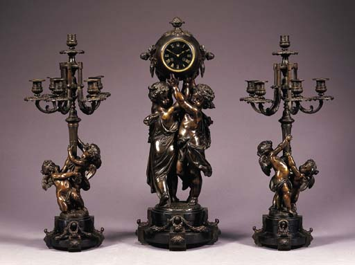 A French bronze-patinated spel