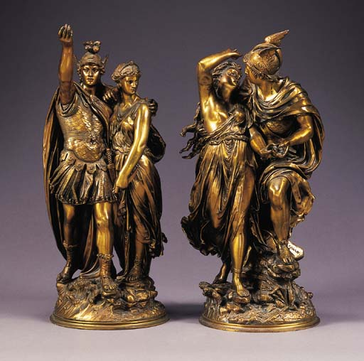 A pair of French bronze mythol