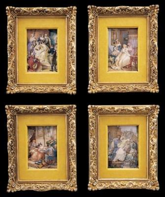A set of four framed miniature
