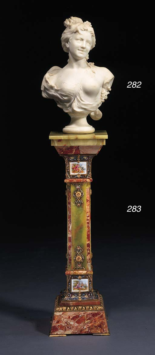 A French ormolu, porcelain and