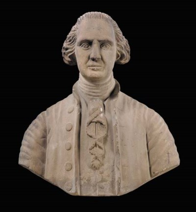 A CARVED STONE BUST OF GEORGE