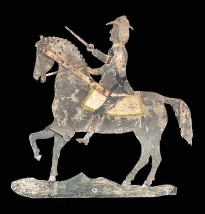 A PAINTED SHEET METAL HORSE AN