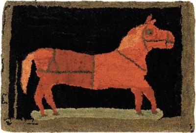 A WOOL HOOKED RUG