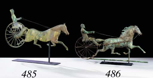 A MOLDED COPPER HORSE AND SULK