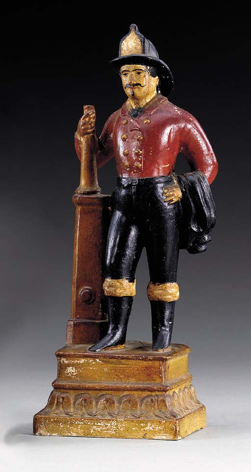 A PAINTED CHALKWARE FIGURE OF