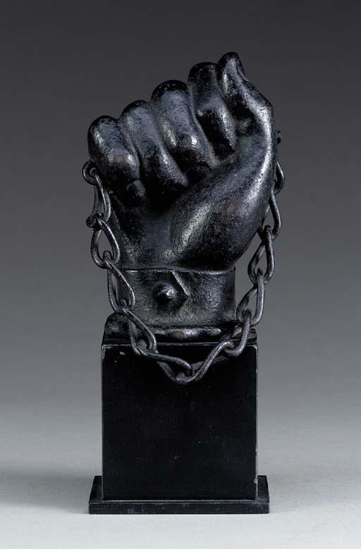 A BLACK-PAINTED CAST-IRON HITC