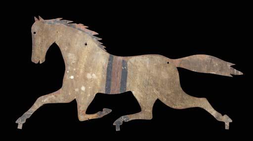 A SHEET TIN RUNNING HORSE WEAT