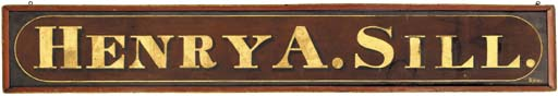 A LARGE PAINTED WOODEN SIGN