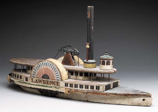 A CARVED AND PAINTED MODEL OF
