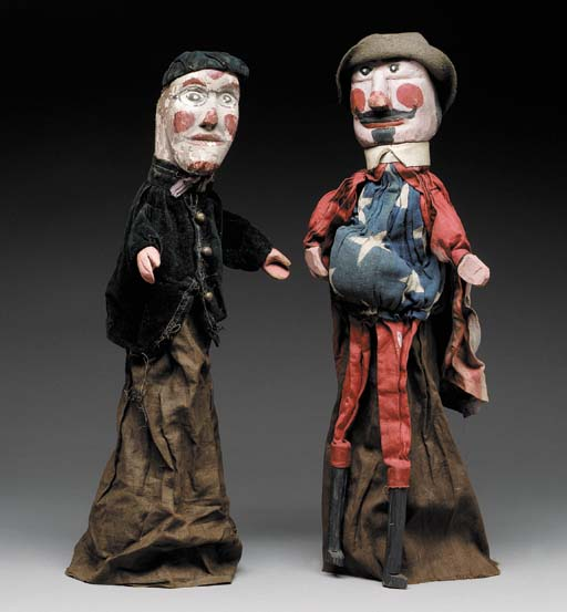 TWO CARVED AND PAINTED WOOD AN