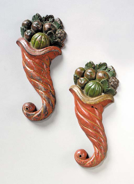 A PAIR OF POLYCHROME PAINTED C