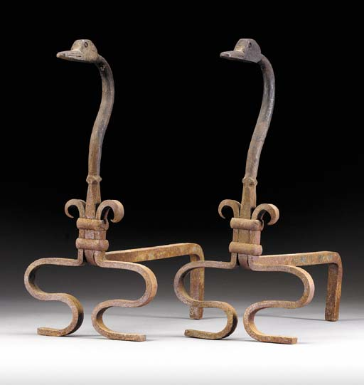 A PAIR OF WROUGHT-IRON GOOSE-H