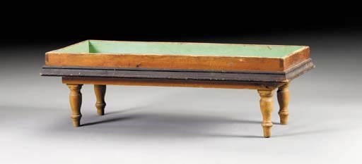 A PAINTED WOOD BENCH-FORM PLAN