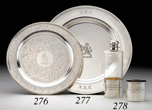 AN AMERICAN SILVER-MOUNTED GLASS PRESENTATION FLASK
