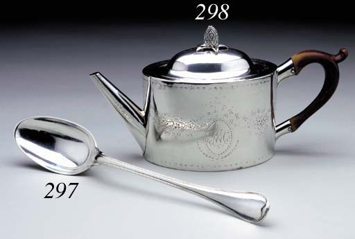 A FRENCH SILVER BASTING SPOON