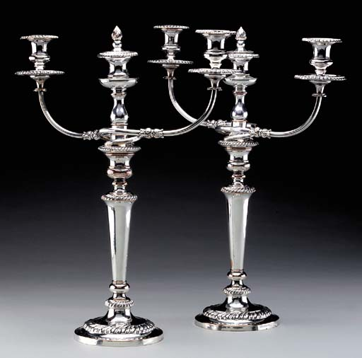 A PAIR OF GEORGE IV SHEFFIELD-