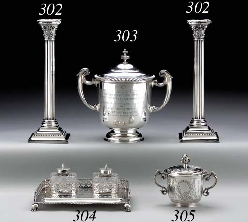A VICTORIAN SILVER INKSTAND WI