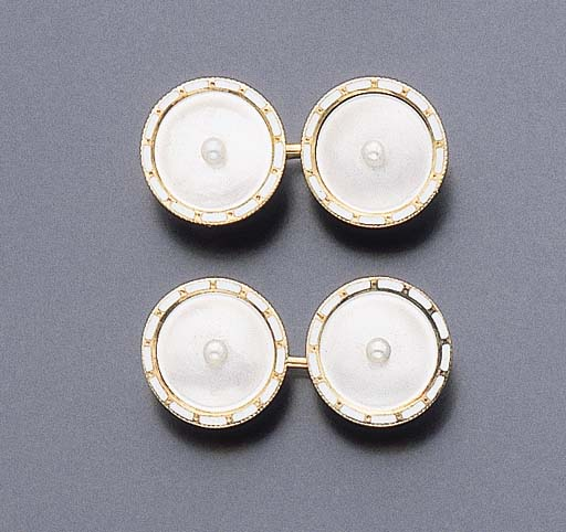 A PAIR OF MOTHER-OF-PEARL, SEED PEARL AND ENAMEL CUFFLINKS