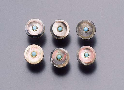 A SET OF SIX MOTHER-OF-PEARL AND TURQUOISE DRESS BUTTONS