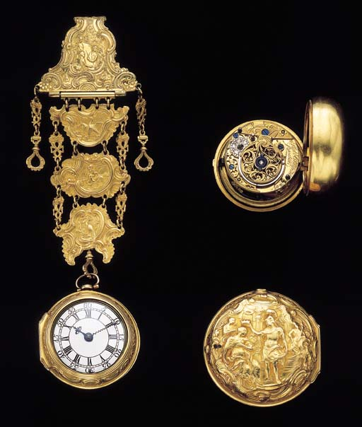 Robert Chignett. A fine and rare 18K gold repousse pair case verge watch with chatelaine