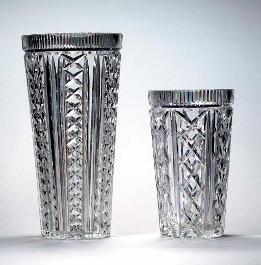TWO WATERFORD CUT-GLASS FLOWER