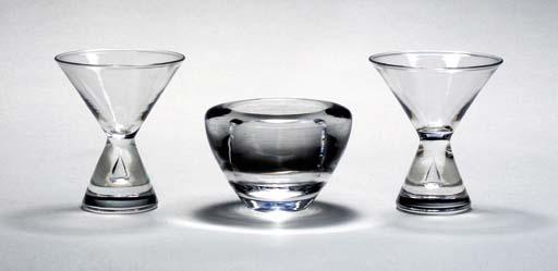 NINE STEUBEN MARTINI GLASSES A