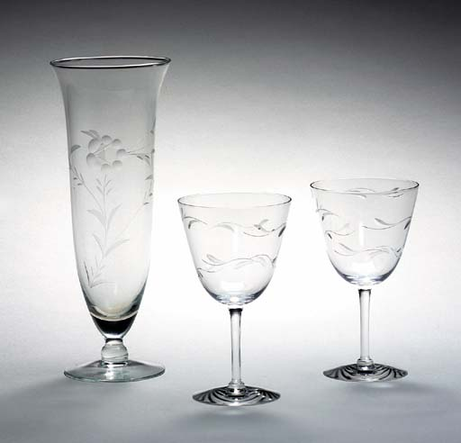 EIGHT GLASS WATER GOBLETS