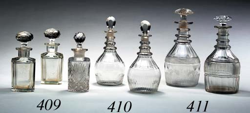 TWO ENGLISH CUT-GLASS DECANTER
