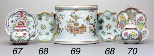 A FAMILLE ROSE TEAPOT, COVER A
